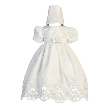 Baby Girls White Shantung Cutwork Dress Bonnet Christening Set 6-24M