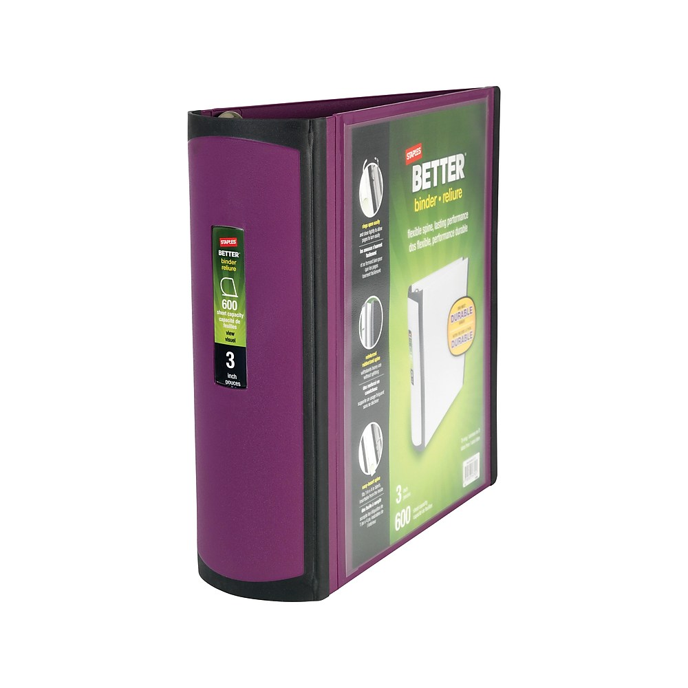 Staples Better 3-Inch D 3-Ring View Binder Plum (22172-US