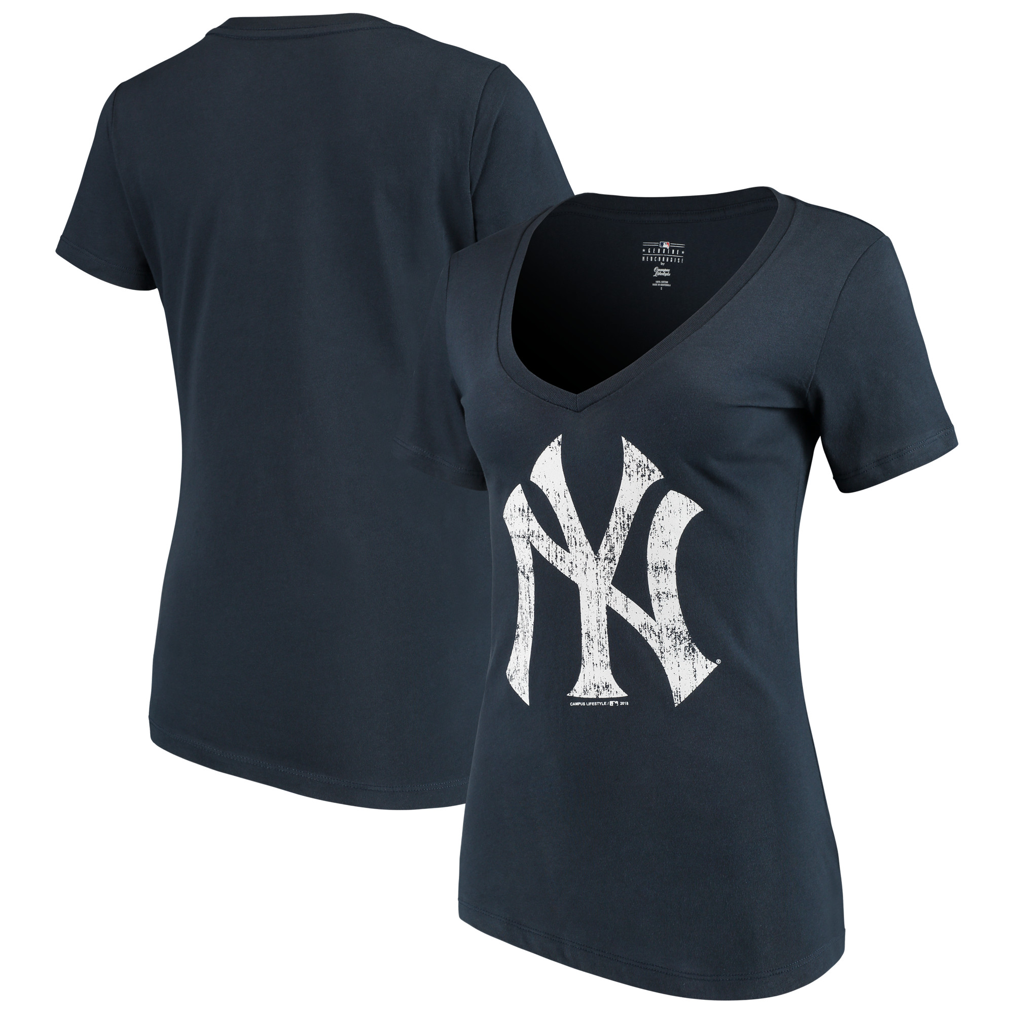 Women's 5th & Ocean by New Era Navy New York Yankees V-Neck Team T-Shirt