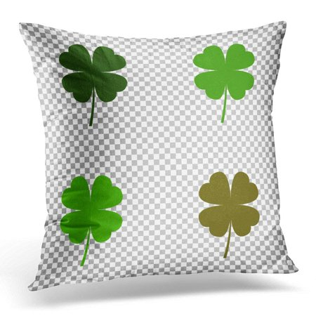 ARHOME Green Blade Four Leaf Clover White Grass Pillow Case Pillow Cover 20x20 inch