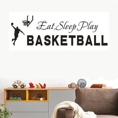 Eat Sleep Play Basketball Quotes Wall Sticker Decal Home Boys Room Decoration](Basketball Locker Decorations)