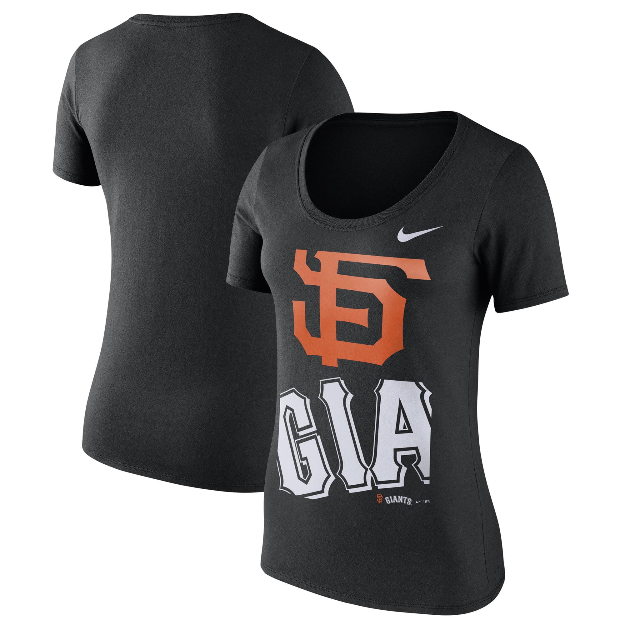 San Francisco Giants Nike Women's Stack Logo Scoop Neck T-Shirt - Black