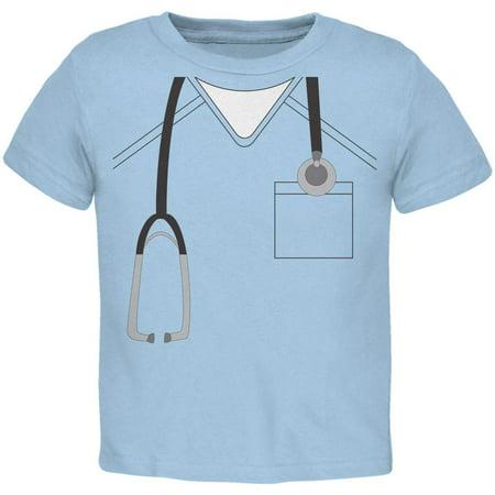 Halloween Doctor Scrubs Costume Light Blue Toddler T-Shirt