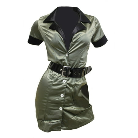 Fantasy Cosplay Army Green Dress Up Army Girl Combat Booty Camp Costume](Halloween Army Girl)