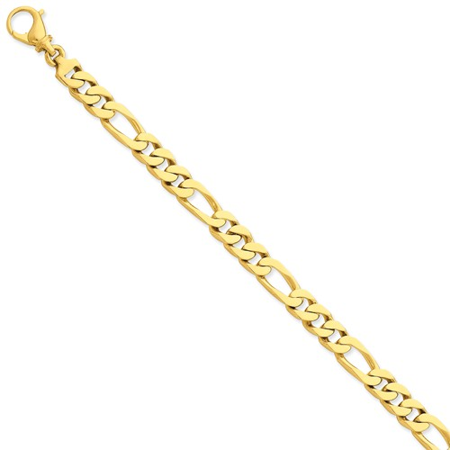 14k Yellow Gold 8in 7.7mm Hand Polished Figaro Men Link Bracelet by Jewelrypot