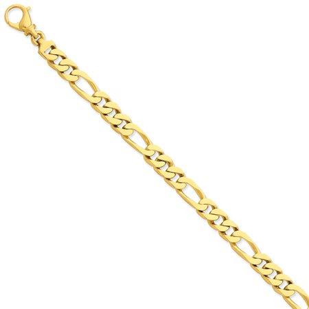 Mens Gold Figaro Bracelet - 14k Yellow Gold 8in 7.7mm Hand Polished Figaro Men Link Bracelet