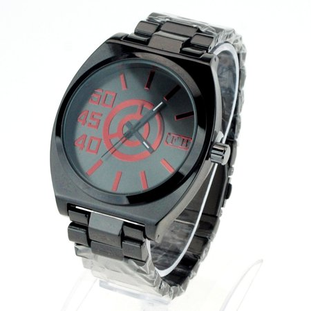 SA106 Mens Metal Link Band Minimal Mod Analog Round Wrist Watch Gunmetal Red ()