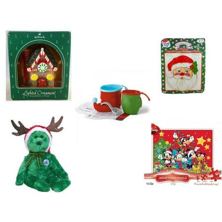 Jumbo Christmas Ornaments (Christmas Fun Gift Bundle [5 Piece] - Hallmark Sugarplum Cottage Lighted Ornament QLX7011 - Jumbo  Suncatcher Santa - Hallmark Bake Like an Elf Kit with Recipe Cards - Ty)