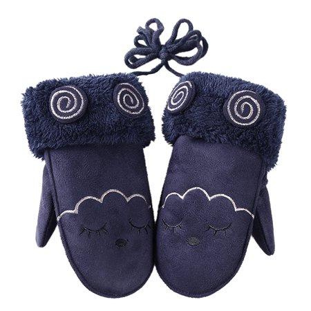 Kids Winter Warm Suede Velvet Gloves Cartoon Baby Boys Girls Thick Hanging Neck Mittens with String