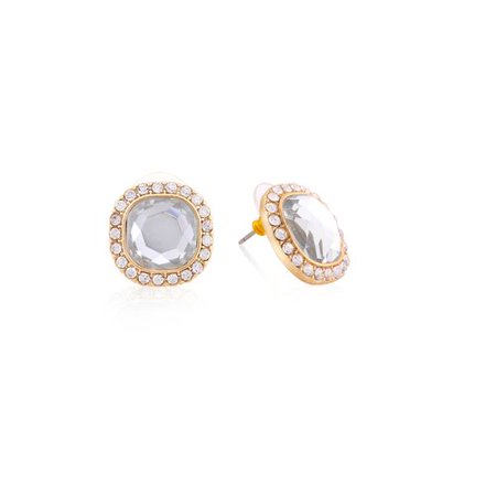 Essentials Gold Crystal Round Stud Earrings (Gold Crystal Earrings Studs)