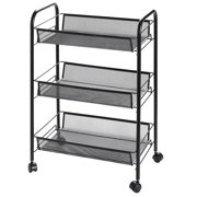 Clearance!3-Tier Utility Cart, Metal Mesh Rolling Storage Cart Kitchen Storage Cart on Wheels Steel Utility Serving Rack Storage Tower Rack with Wheels for Kitchen Office Bedroom Bathroom Washroom