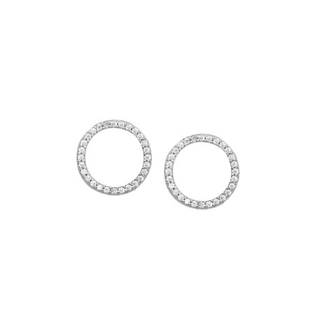 Open Circle Cubic Zirconia Stud Earrings Rhodium on Sterling Silver