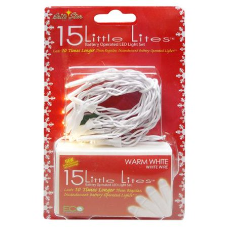 Set of 15 Warm White LED Little Lites Christmas Lights - White Wire Little White Lights