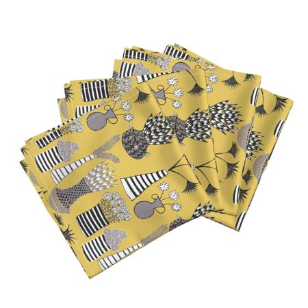 Flower Pots Flower Pots Mustard Black Cotton Dinner Napkins by Roostery Set of 4