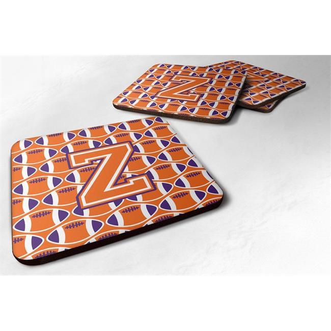 Carolines Treasures CJ1072-ZFC Letter Z Football Orange, White & Regalia Foam Coaster - Set of 4 - image 1 of 1