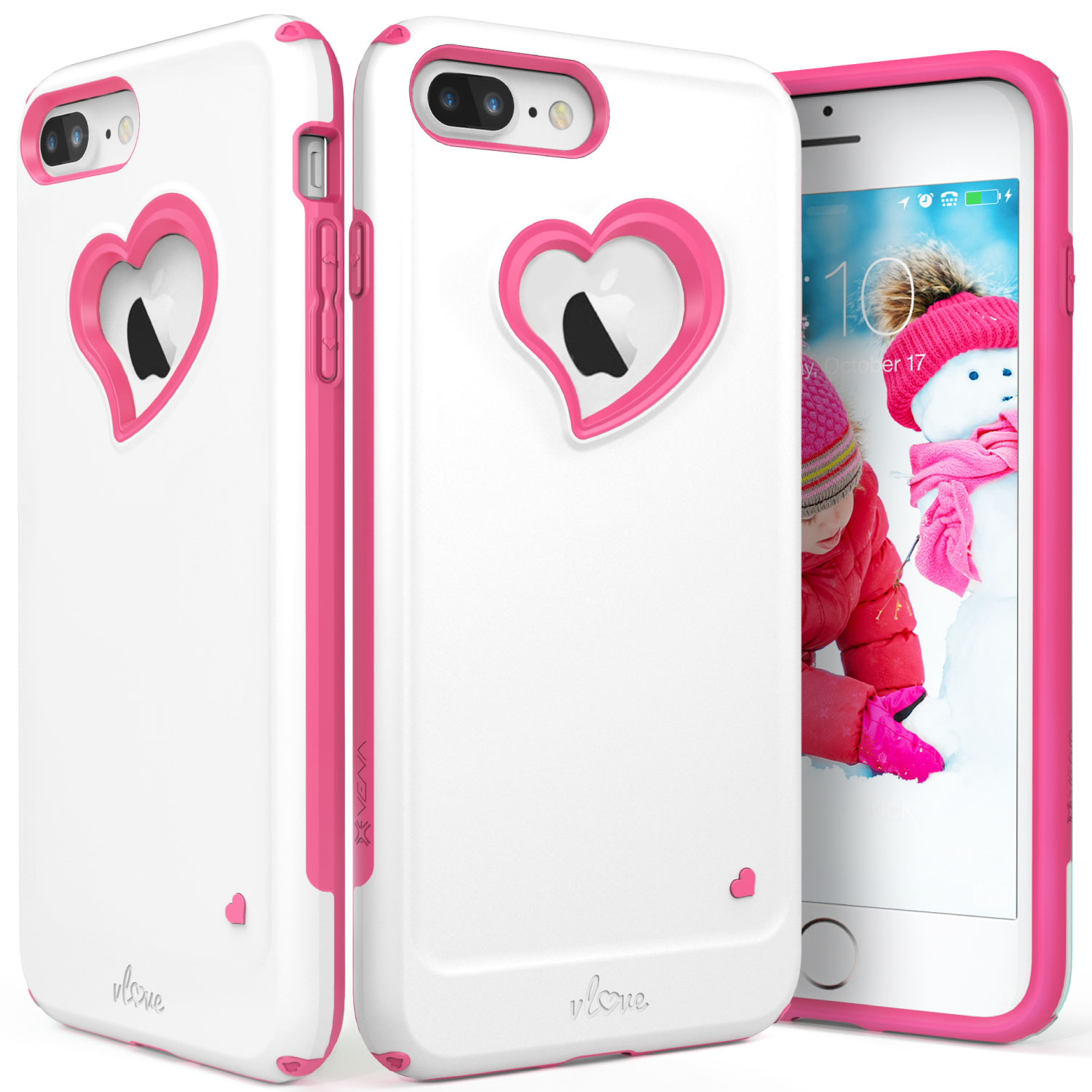 "iPhone 8 Plus Case, iPhone 7 Plus Case, Vena [vLove][Heart-Shape | Dual Layer Protection] Hybrid Bumper Cover for Apple iPhone 8 Plus / 7 Plus (5.5""-inch)"