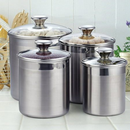 cheap kitchen canister sets cooks standard 4 piece stainless steel canister set walmart com 8589
