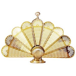 Uniflame Single Panel Polished Brass Shell Fan Fireplace Screen