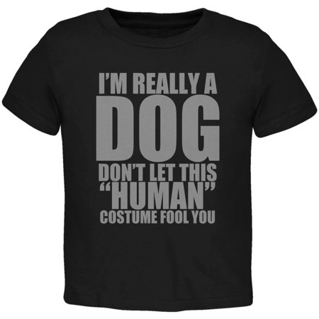 Halloween Human Dog Costume Black Toddler T-Shirt