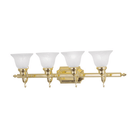 Bathroom Vanity 4 Light With White Alabaster Glass Polished Brass size 33 in 400 Watts - World of
