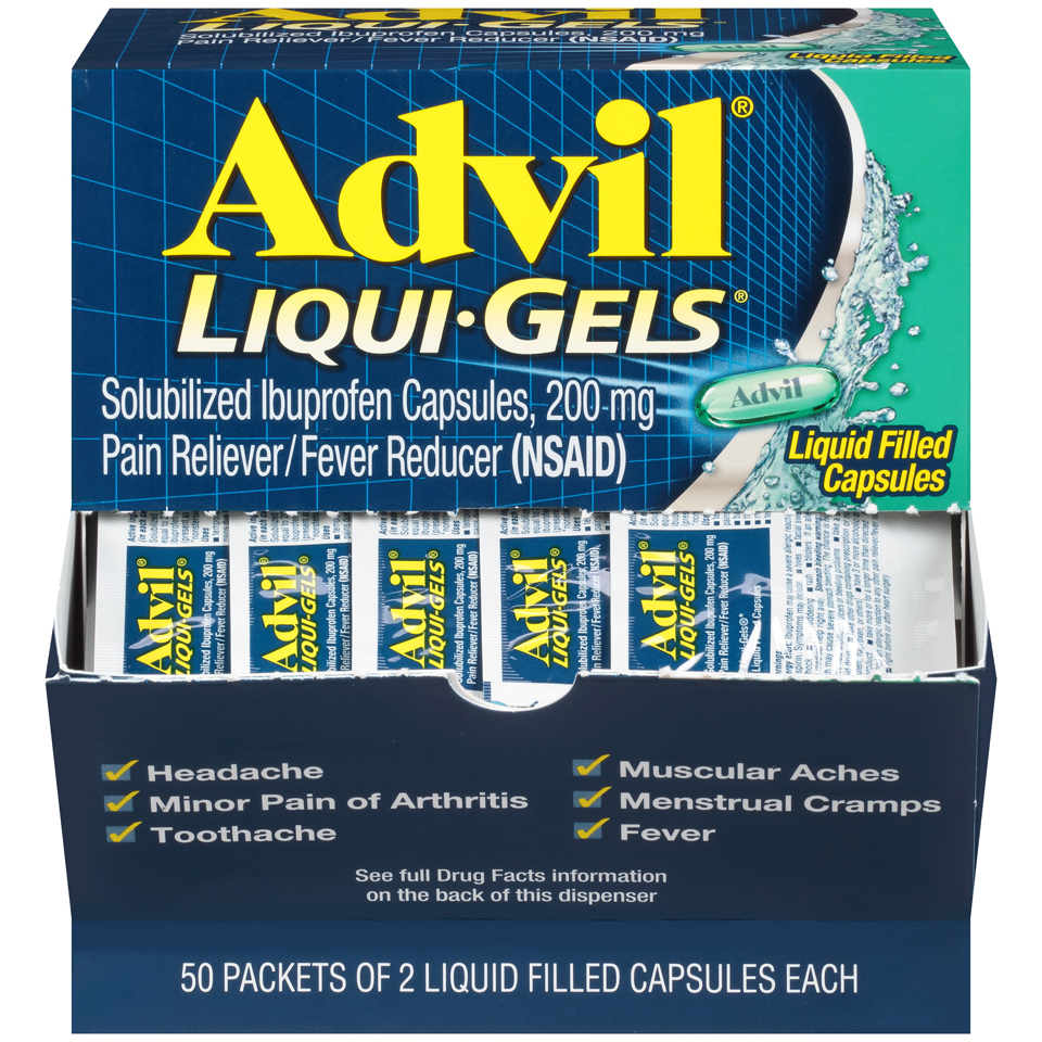 Advil Liqui-Gels Pain Reliever / Fever Reducer Liquid Filled Capsule, 200mg Ibuprofen (50 Packets of 2 Capsules)