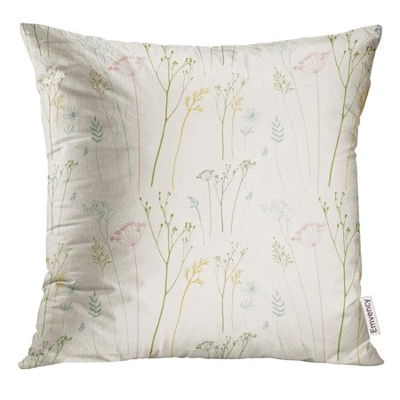 ARHOME Botanical Floral Pattern with Dill Fennel Flowers and Grasses Drawing Pillow Case 16x16 Inches (Fennec Fox As A Pet In The Us)