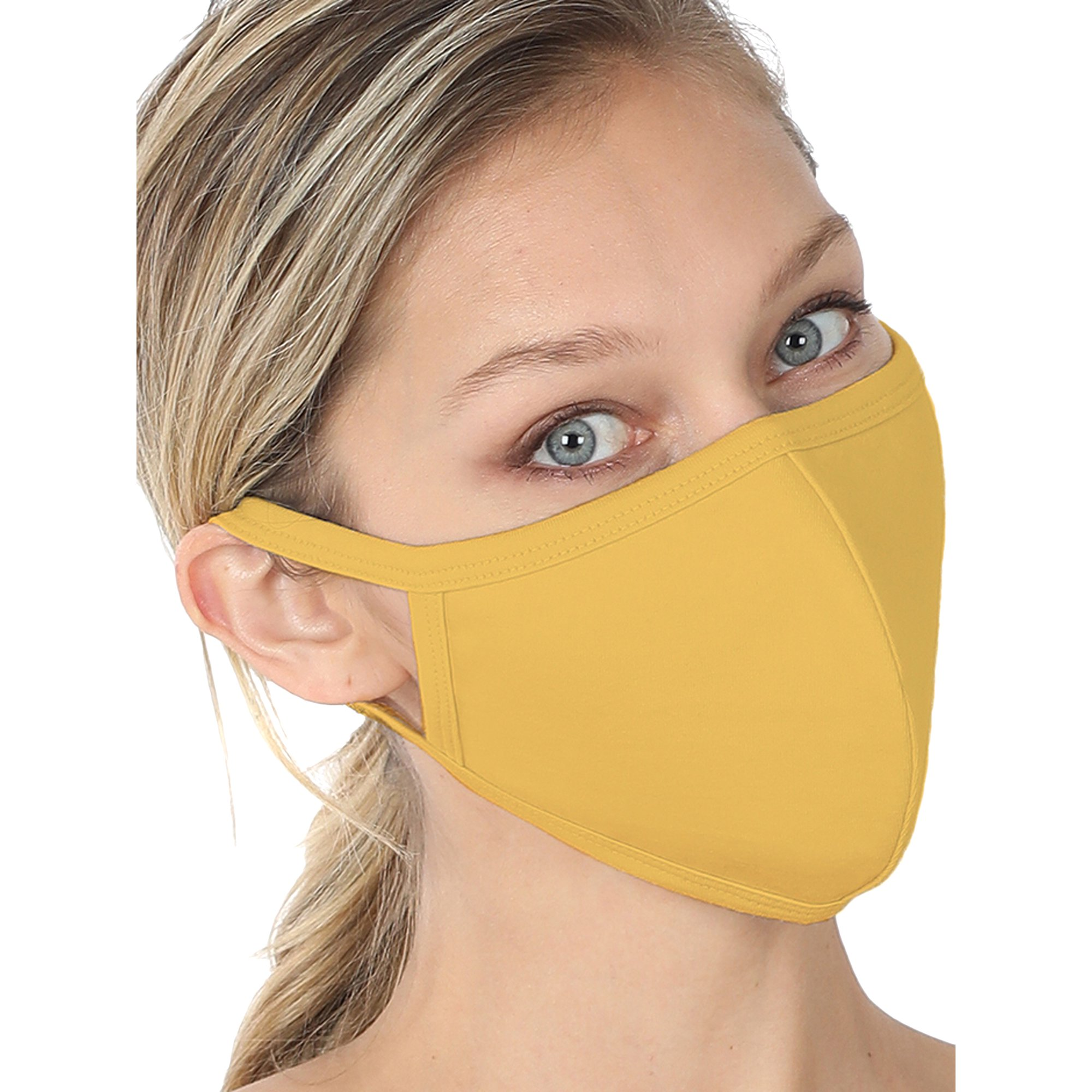 Zenana Fashion Washable Soft Cotton Adults Unisex One Size Face Covering Mask Lt Mustard Single Walmart Com Walmart Com