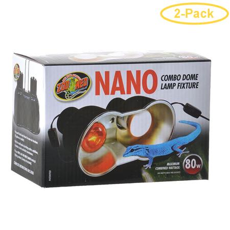 Zoo Med Nano Combo Dome Lamp Fixture 80 Watt - (8L x 4W) - Pack of 2 Nano Combo Pack