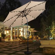 10ft Patio Solar Umbrella LED Patio Market Steel Tilt w/ Crank Outdoor Tan