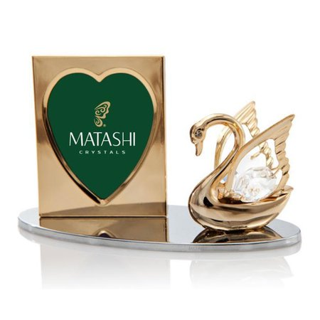 Matashi Crystal 2 Piece Crystal Decorated Swan Figurine and Picture Frame Set