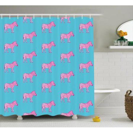 Home Fashions Zebra - Pink Zebra Shower Curtain, Zebras Savannah Fashion Grunge Stylized Exotic Lands Artsy Illustration, Fabric Bathroom Set with Hooks, 69W X 70L Inches, Blue Pink and White, by Ambesonne