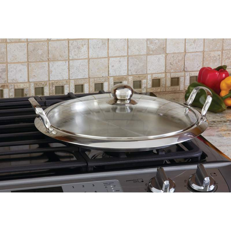 Chef's Secret® by Maxam® 12-Element High-Quality Stainless Steel Round Griddle with See-Thru Glass Cover