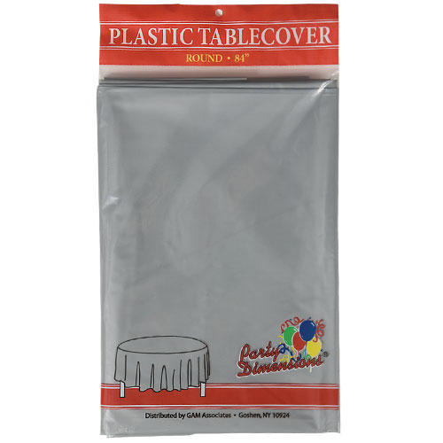 "Silver  84"" Round Plastic Disposable Party  Tablelcoth"