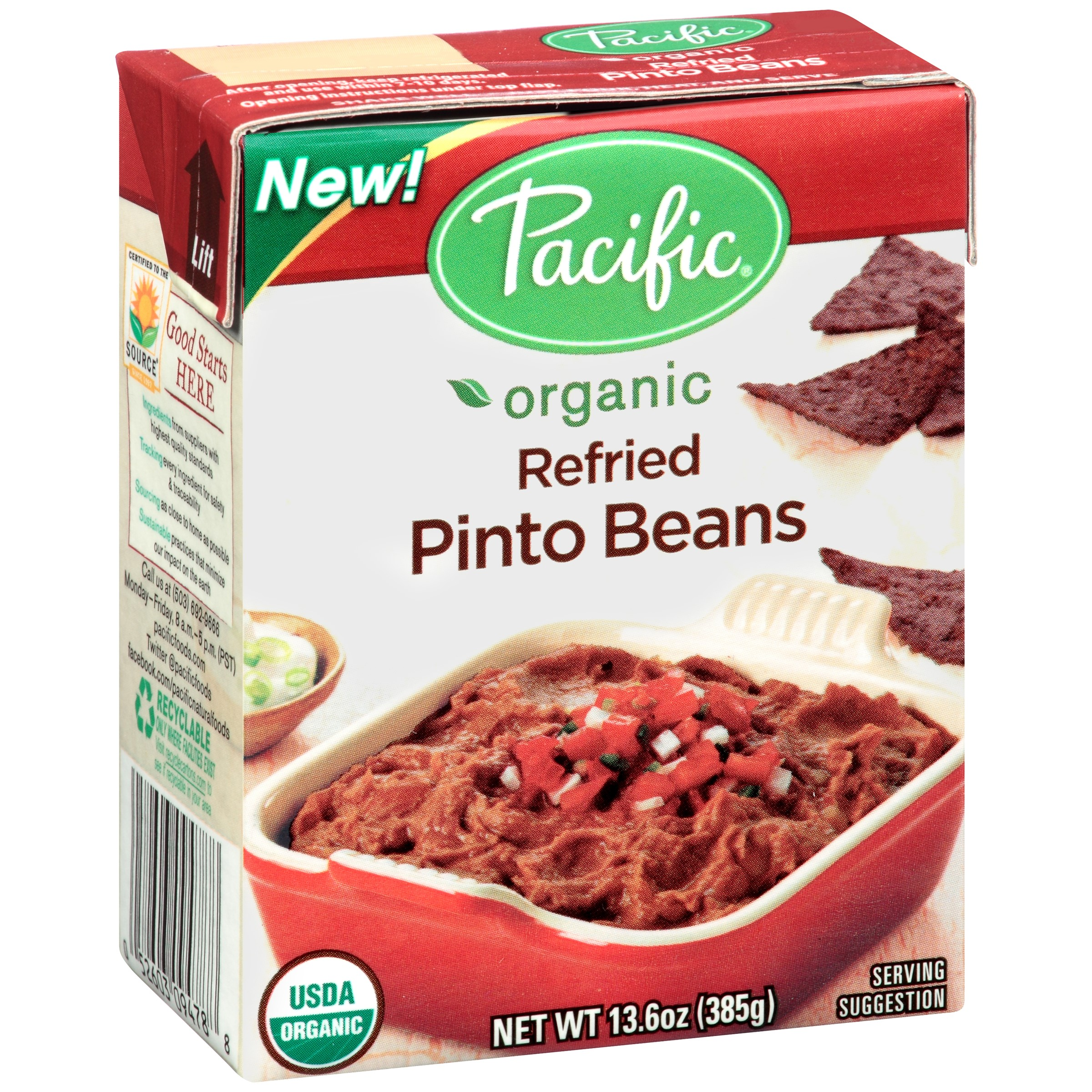 Pacific Foods Organic Traditional Refried Pinto Beans, 13.6 Oz