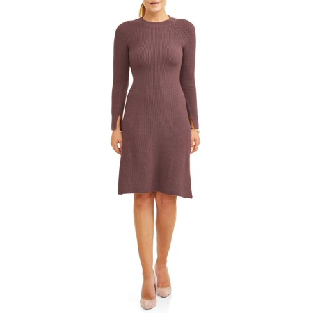 (Women's Long Sleeve Shift Sweater Dress)