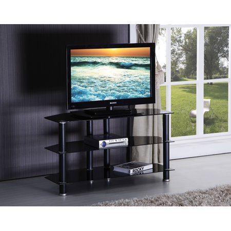 1PerfectChoice Marabel Black Tempered Glass TV Stand