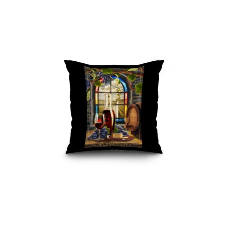 Washington - Cabernet Sauvignon - Lantern Press Original Poster (16x16 Spun Polyester Pillow, Black