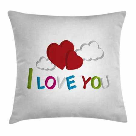I Love You Throw Pillow Cushion Cover, 3D Letters Clouds and Hearts Romantic Message Happy Feelings, Decorative Square Accent Pillow Case, 20 X 20 Inches, Lime Green Blue Magenta Ruby, by Ambesonne - I Love You Letter