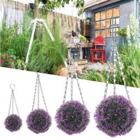 Multi-size Hanging Topiary Ball, Indoor/Outdoor Artificial Hanging Violet Flowers Leaf Topiary Plant Ball Home Garden Patio Wedding Office Decoration