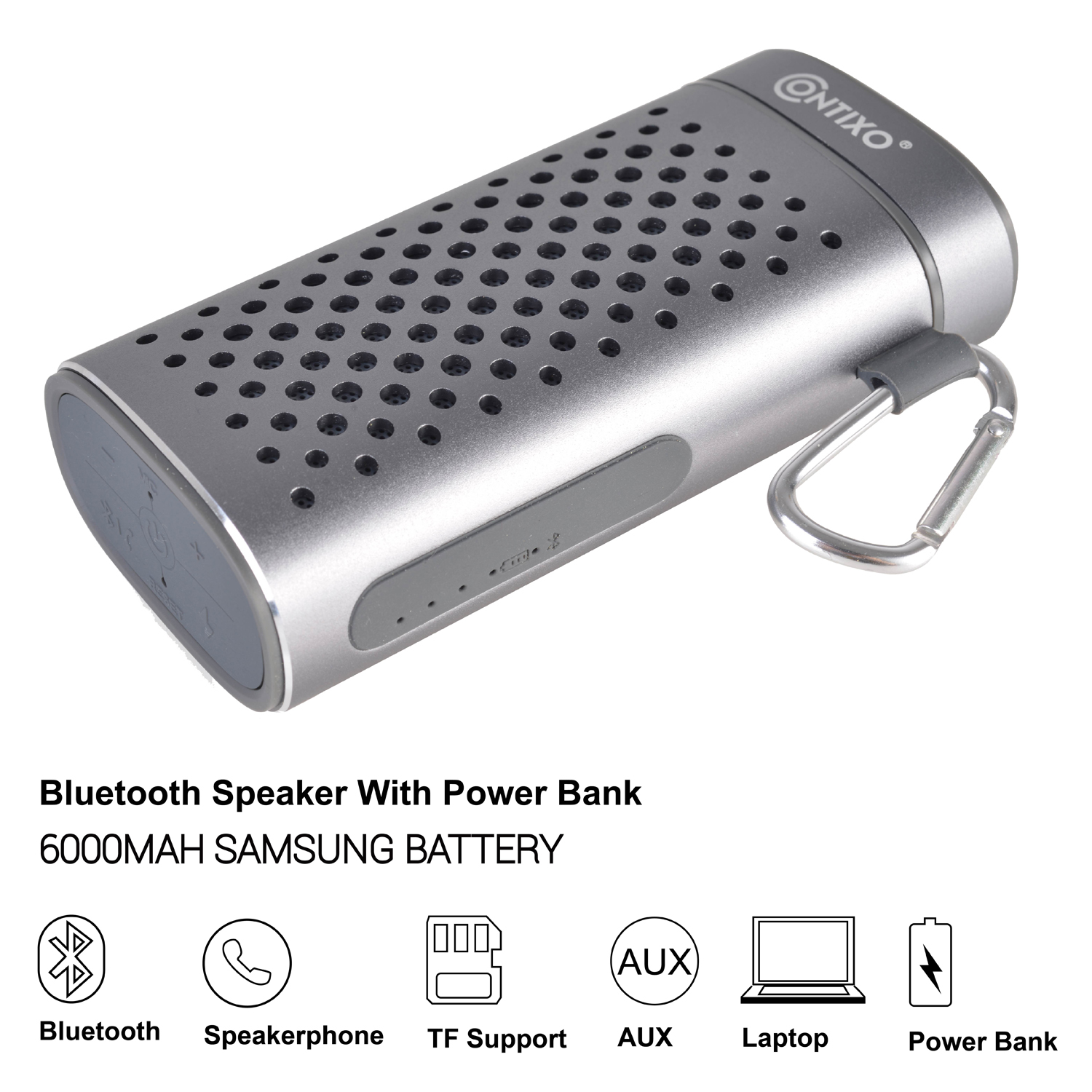 Contixo Bluetooth Speaker 6000mAH Samsung Battery Portable Power Bank Charger 5V/2A Output with 3.5mm Aux Jack, Support 32GB Micro SD Card