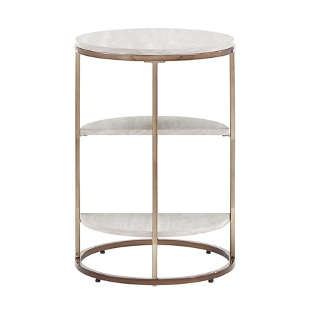 Weston Home Maisie Champagne Gold Finish White Faux Marble Top Round Side Table