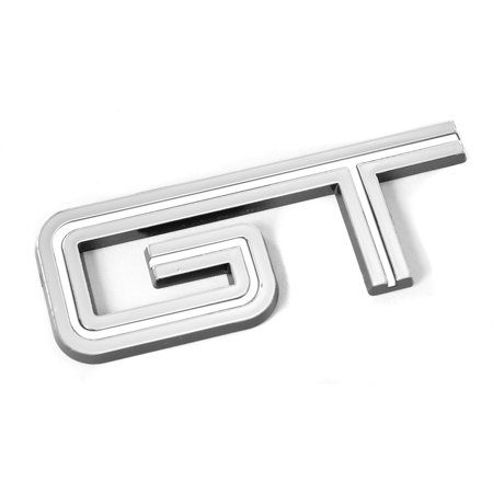 Ford Mustang GT White & Chrome Emblem; For Fenders & Trunk, Exact look as the original 2005-2010 GT emblems but with a white line instead of black By Yates