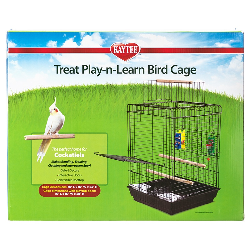 "Kaytee Treat Play-n-Learn Cockatiel Cage 1 Pack - 16""L x 16""W x 23""H - (28"" With Playtop Open)"