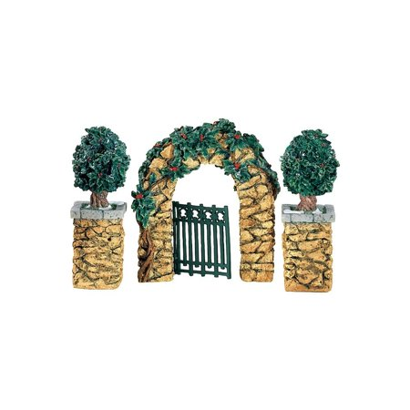 Village Stone Holly Corner Posts & Archway (Set of 3), Retired! By Department56