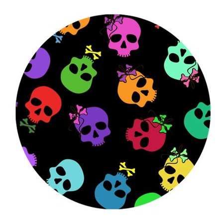 - MKHERT Colorful Skulls Seamless Pattern In Black Round Mousepad Mice Mat Size 7.87x7.87 inches