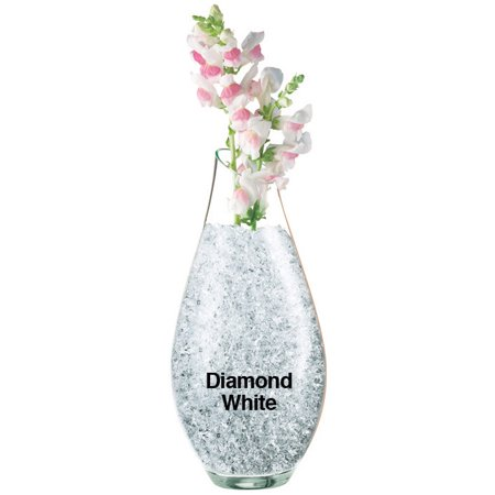 Crystal Modern Vase - Crystal Accents (Diamond White) Color Water Crystals Vase Filler Gel 1 Ounce Bag Makes 1 Gallon of Product