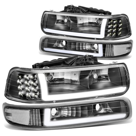 For 1999 to 2002 Chevy Silverado 2000 to 2006 Suburban 1500 2500 Tahoe LED DRL Headlight Bumper Signal Lamps Black/Clear 01 03 04 05 Chevy 1500 2500 Truck Headlight
