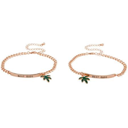 Lux Accessories Rose Gold Tone Best Buds BFF Marijuana Leaf ID Bracelet Set 2PC (Gold Marihuana)
