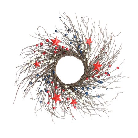 Berry, Twig and Star Artificial Patriotic Wreath, Red, Blue and White 24-Inch