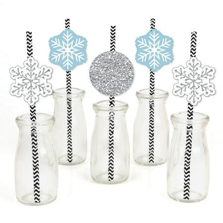 Winter Wonderland - Paper Straw Decor - Snowflake Holiday Party & Winter Wedding Striped Decorative Straws - Set of 24 (Winter Wonderland Decor)